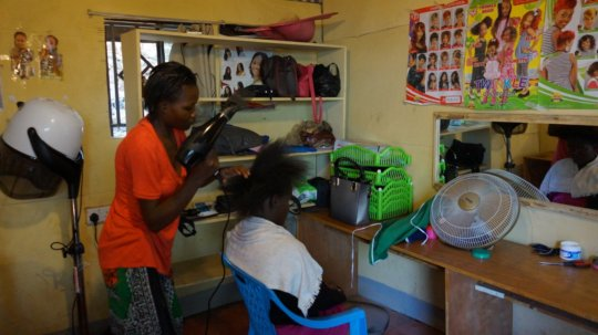 Hairdressing practical classes in progress