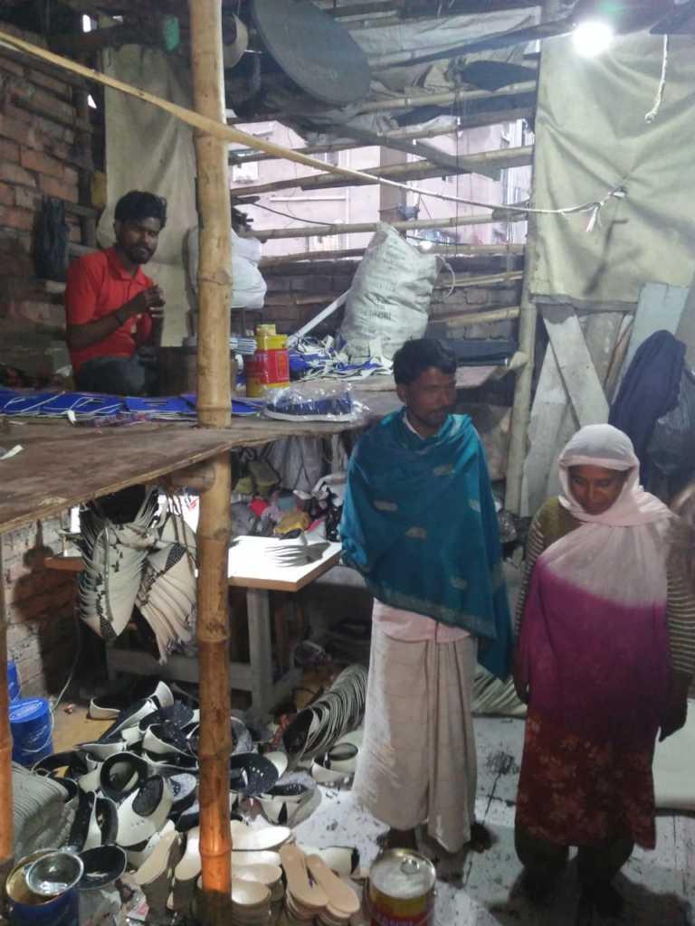 Noorbanu and Rajah in their shoe factory