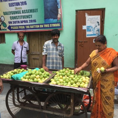 Selling his guavas