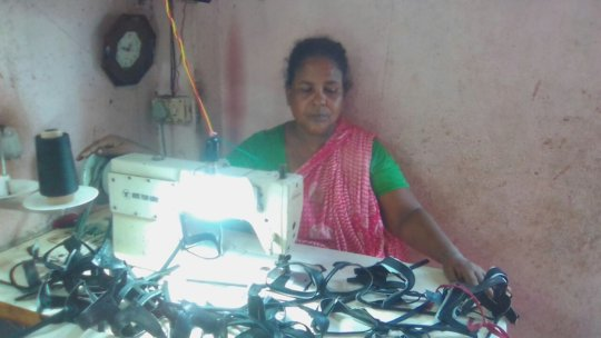 Rehana and her new sewing machine
