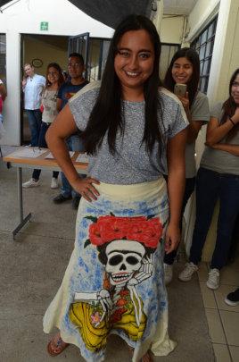 Fernanda in Her Hand Painted Skirt