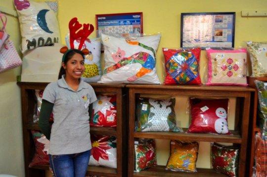 Juanita with handmade cushions