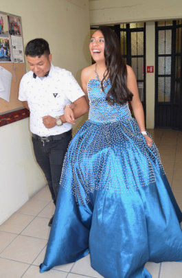 Laura Modeling Handmade Quinceanara Dress