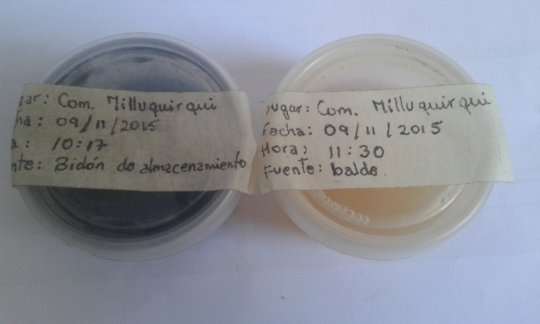 Water analysis (on the left contaminated)