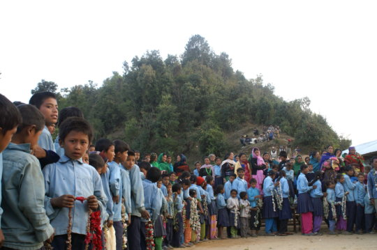 Kharpani students at inauguration of their school