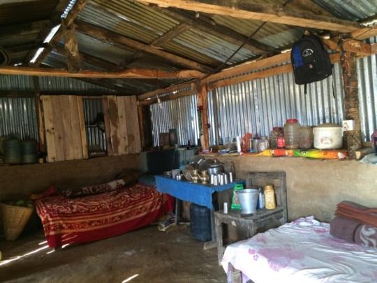 Interior of a 'temporary shelter'