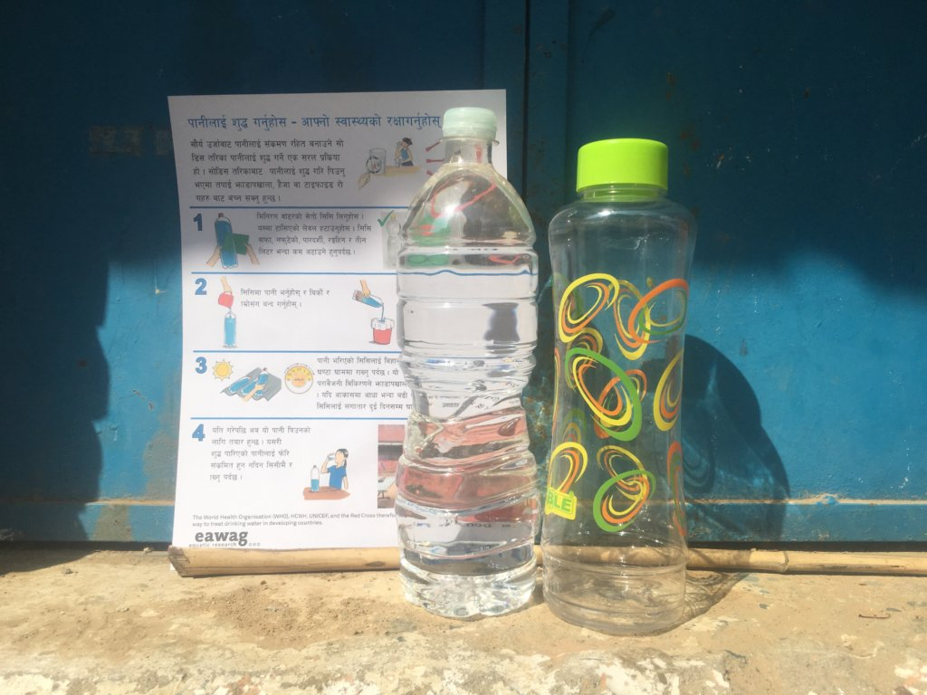 Bottles and instructions for the SODIS method