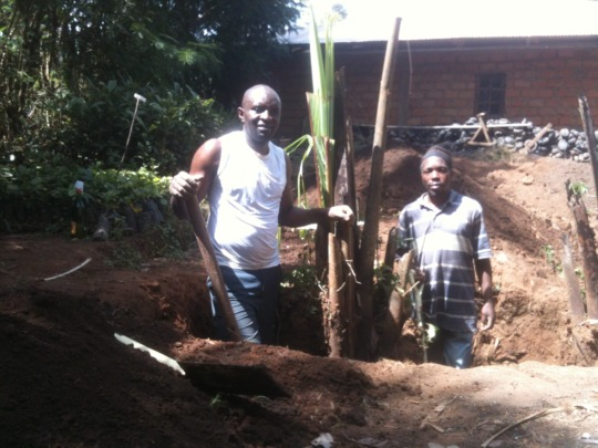 Digging stumps and clearing the foundation