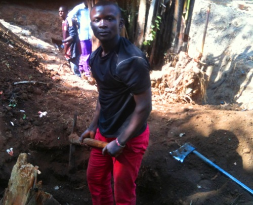 Volunteer Divine digging out a small stump