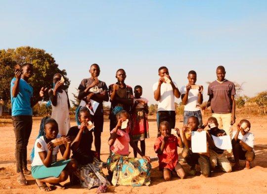The girls celebrating their school success