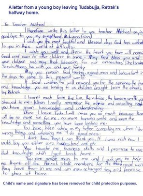 Letter from a boy about to return home