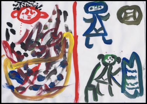 """Before and After Retrak"" drawn by a Retrak boy"
