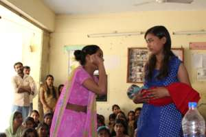 Students put on a play for their school