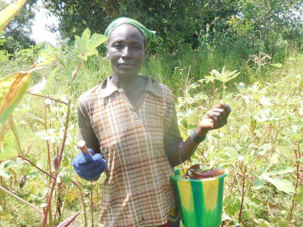 Rosalie carrying a basket of okra harvested