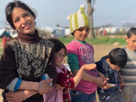 Children in one of the camps in Izmir