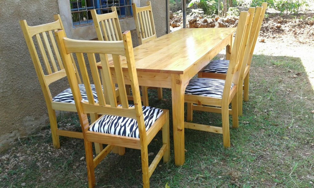 Dining table and chairs made at the workshop
