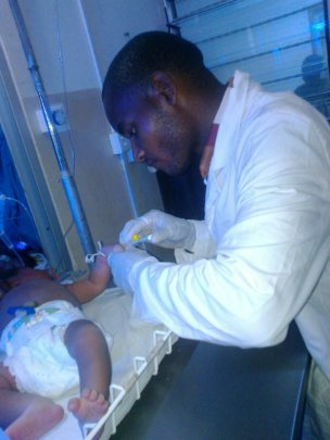 Solomon at work at the hospital