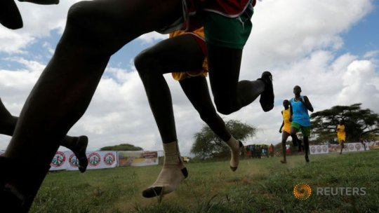 Maasai athletes competing in 800m with no shoes.