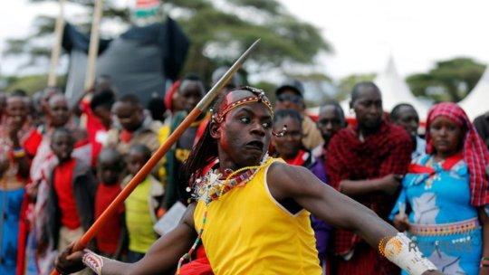 Njama Tipis, a Maasai warrior competing.