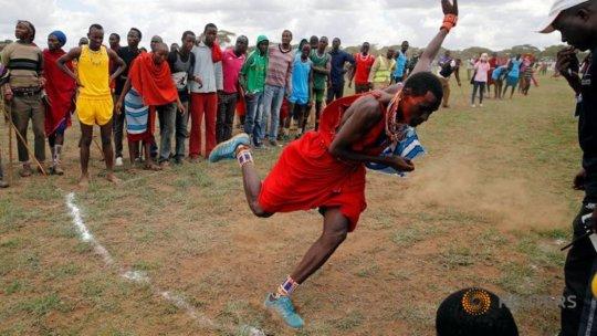 Tipape Lekatoo, a Maasai warrior competing.