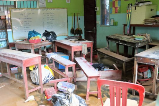 Flood damage in the classrooms