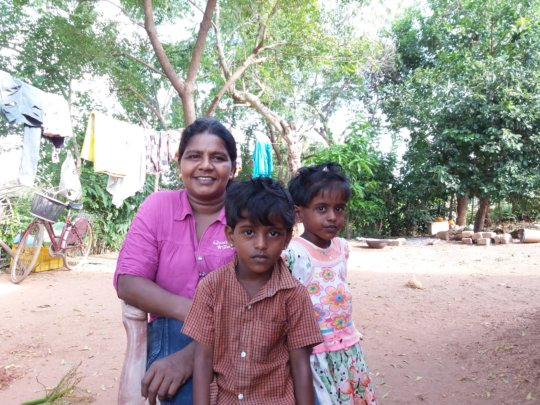 Vijayalakshmi with her two kids at their home