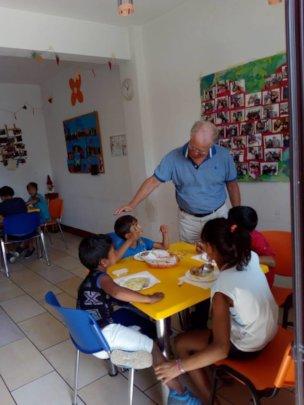 IBO President at Centre Pinocchio canteen