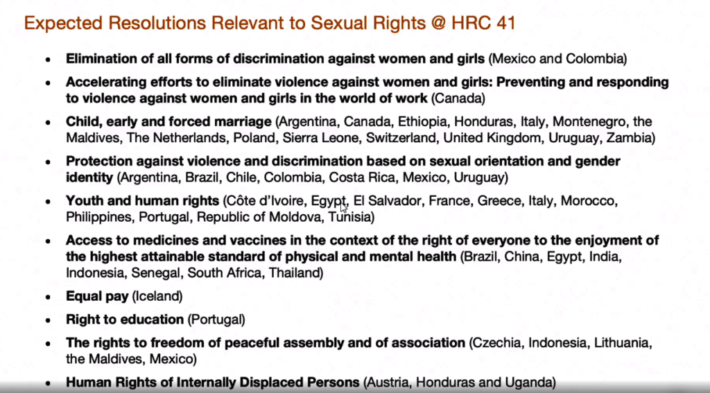 Expected resolutions relevant to HRC 41