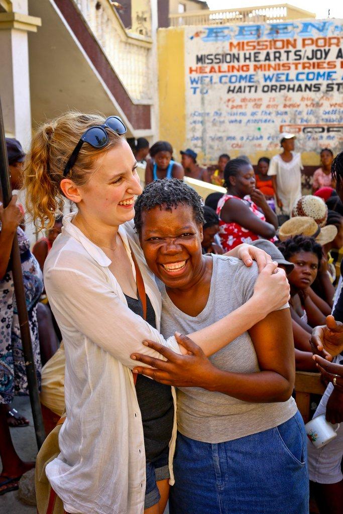 Laura Carmichael in Haiti visiting local women