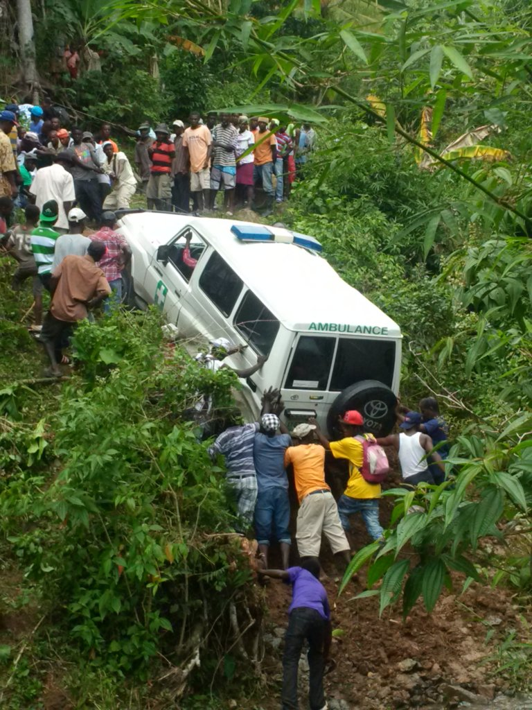 Villagers recovering the ambulance