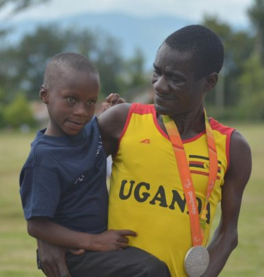David and Ayebale with his Olympic silver medal