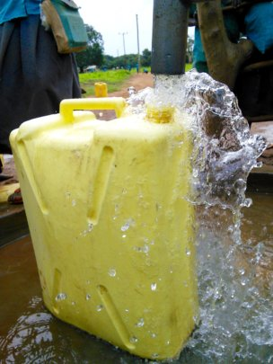 Strong water flow at Atar Primary School