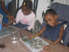 Some of kids learning to paint!
