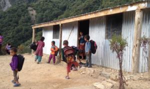 Children in front of the Mini School