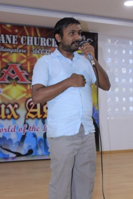 Visually challenged singing in the youth fest