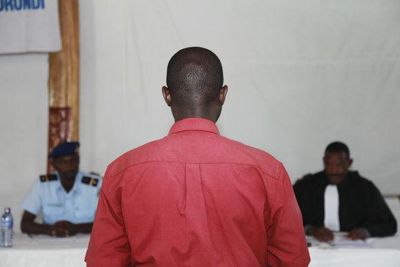 Mock Trial portion of criminal defense training in Burundi