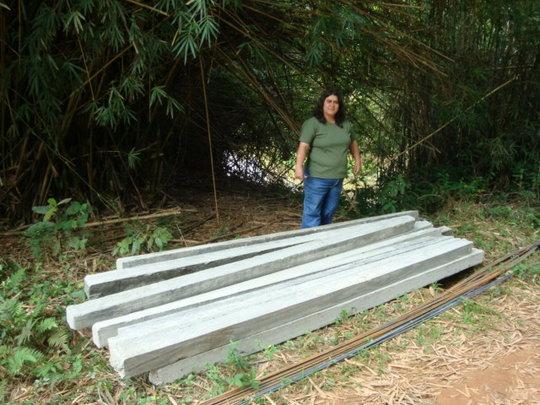 Denise, concrete poles and crossbars