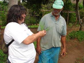 Denise, explaining some technique to the gardener.