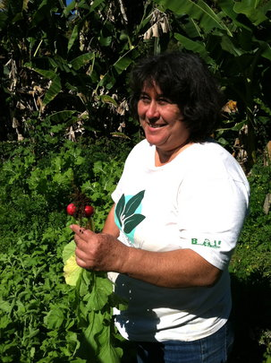 Denise shows off her beautiful radishes!