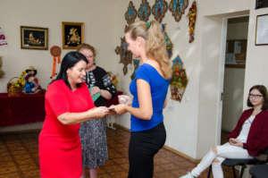 Presenting aid to Anastasiya - dead soldier's wife