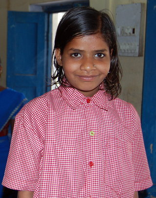 Homeless girl with new clothes at Rescue Junction