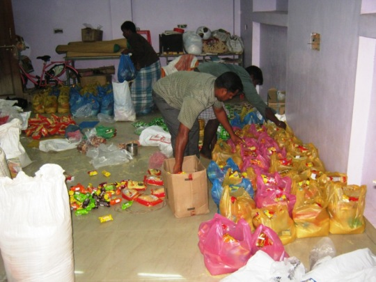 Relief materials dispatching work