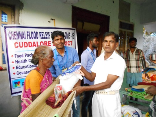 In Clinchal Nagar, one woman receives relief