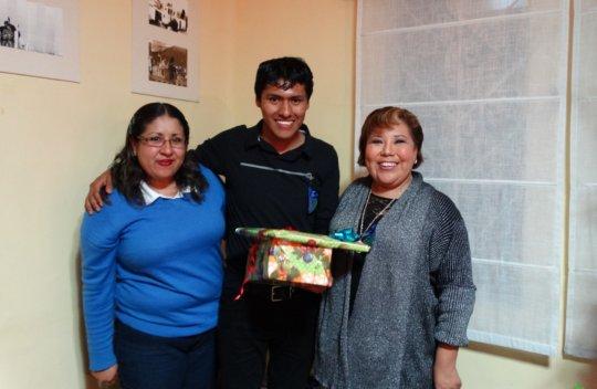 Celebrating his enrollment in a training program