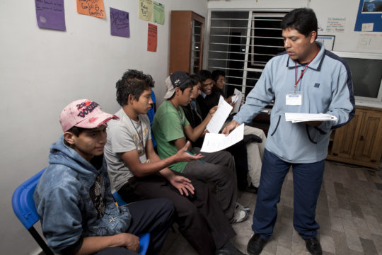 Youths during a vocational workshop