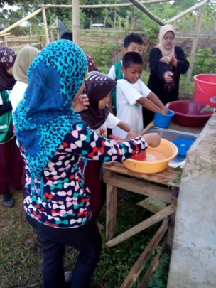 Hand washing is daily routine at Sahaya Elementary