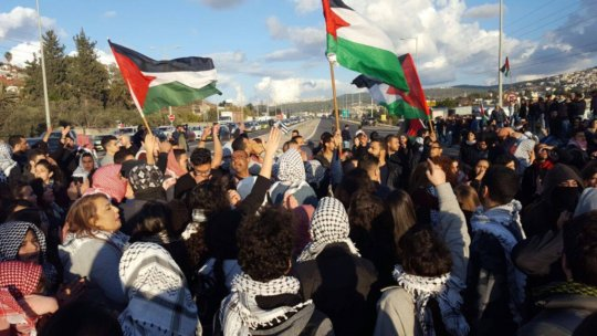 Palestinian protestors in Ar'ara, 21 January 2017