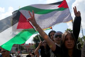 Palestinian protest in Jaffa. Photo: Mati Milstein