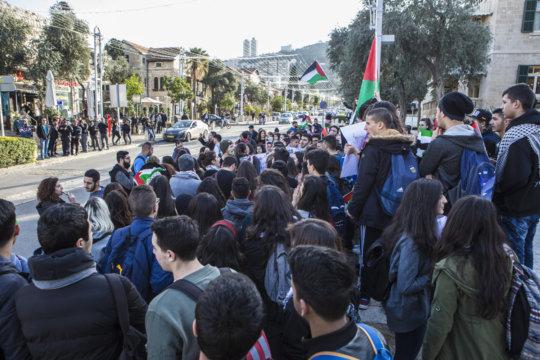 Protestors opposite police in Haifa, 24 Jan 2017
