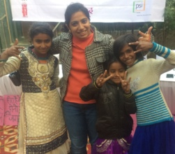 Pratistha and girls pose for picture